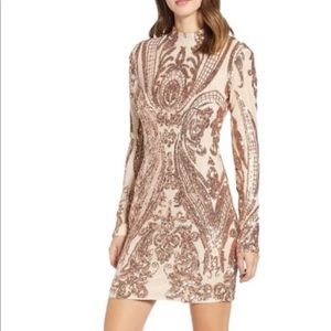 Lola Baroque Sequin Open Back Dress TIGER MIST